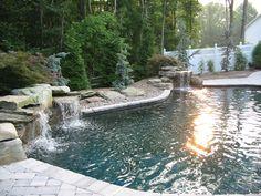 Inground Swimming Pool Waterfalls   In-ground Gunite Swimming Pool with Waterfalls in Edgewater Maryland