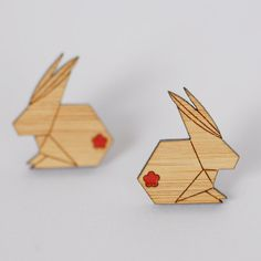 Origami Bunny Rabbit Stud Earrings - Sustainable Bamboo and Hand Painted bu Kimono Reincarnate on Etsy!