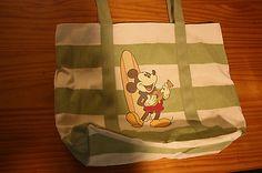 NWT Hawaii Disney Aulani Mickey Mouse Ukulele Surfboard Canvas Tote Beach Bag