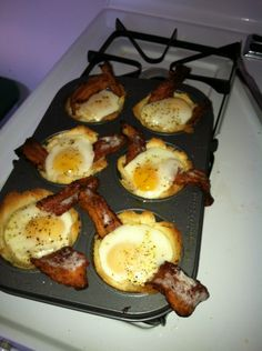 We've all seen these but they are my favorite now!  Flatten bread and press it into buttered muffin pan- put in one slice of 2/3 cooked bacon- fill with egg- oven at 375 for 20-25 minutes and YUM!  I've started experimenting with different sauces and cheeses and meats and so far they are all awesome (Salsa is a good add!)