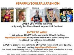 LIKE if you will be wearing a @sparklysoulinc headband in your fall fashion! For additional entry, 1) Let us know BELOW what color you will be rocking OR 2) POST a picture on Facebook, Instagram, Twitter or Pinterest of your fall fashion w/hashtag #sparklysoulfallfashion to enter! OR 3) SHARE 1 of our fall fashion pictures w/ hashtag #sparklysoulfallfashion Enter through 9/14 11:59 PST - 10 winners chosen at random from all of social media on this on 9/15 to win 1 Sparkly Soul of choice!