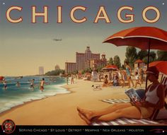 vintage, art, vintag travel, kern erickson, beach, chicago, travel posters, southern air, print