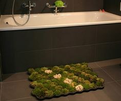 moss shower carpet. nice way to have plants in the house