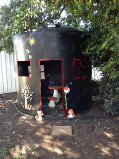 Cubby house made from a water tank water tank, cubbi hous, cubbi project, tank cubbi, cubby houses, garden idea, cubbi playhous, cubbies, kid