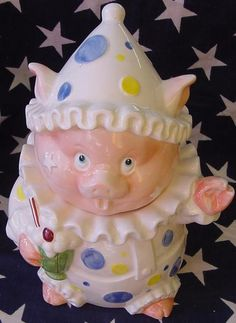 *SIGMA CLOWN PIG ~ Cookie Jar $39.99 www.jazzejunque.com