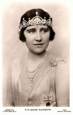 Elizabeth Angela Marguerite Bowes-Lyon 4 August 1900-30 March 2002.Daughter of Sir Claude George Bowes-Lyon,14th Earl of Strathmore & Kinghorne & Nina Cecilia Cavendish-Bentinck.Married Prince Albert Frederick Arthur George,Duck of York.Queen Consort of Great Britain 11 December 1936-6 February 1952.