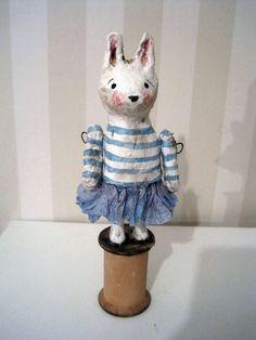 Rabbit - papier mache- folk art-