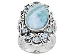 Oval Cabochon Larimar And 1.50ctw Round Glacier Topaz(Tm) Sterling Silver Ring