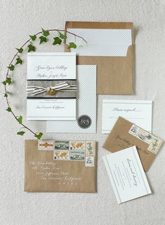 Craft paper envelopes, back and white stationary, and awesome stamps! Photo: Josh Gruetzmacher