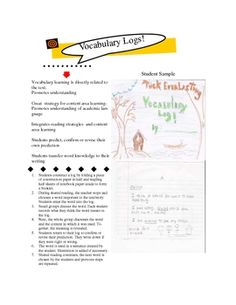 Free Vocabulary Logs enhance student's vocabulary by teaching them how to figure out the meaning of a word by using context clues. It is an activity that involves cooperative learning, discussion, and teacher facilitation.