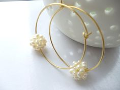 Pearl and gold  hoop earrings by crystalstonelondon on Etsy, £20.00