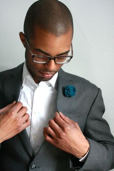 Mens boutonniere teal lapel pin by SimpleSmiles on Etsy, $18.00