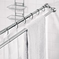 The Shower Curtain/Towel Rack - Hammacher Schlemmer~Maximizes Space in a Small Bathroom