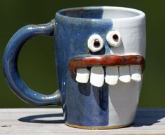for...me, maybe! Just what I need to cheer me up in the morning!  Coffee Mug Blue and White Ceramic Pottery by NelsonStudio on Etsy