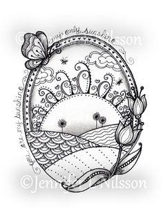 Sunshine Fields Original ink and graphite Zentangle by JLNilsson