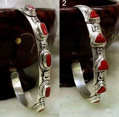 Handmade Tibetan Jewelry Coral Stirling Silver Bracelet