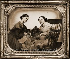 Print from Daguerreotype, two women quilting, paring, 1850