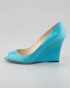 Jimmy Choo Baxen Peep-Toe Patent Wedge, Turquoise - Neiman Marcus