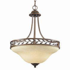 WOODBRIAR PENDANT.  Bowl pendant with sculpted metal leaf details and a hand-painted tea stone glass shade.