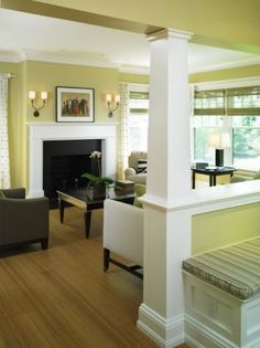 contemporary living room. yellow, white, brown.