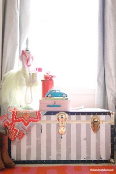 have an old trunk... this may be an idea... Repinned: Old trunk make over. . . .