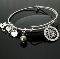 Charmed Sterling Silver Bangle by UnkamenSupplies on Etsy - Kit, Instructions and Finished Bracelet Available!