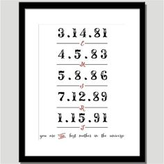 You are the Best Mother in the Universe Dates by CoCoStineDesigns, $15.00