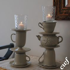 Find teapots and teacups to turn into candleholders. #yard sale #garage sale #tag sale #recycle #upcycle #repurpose #redo #remake #thrift