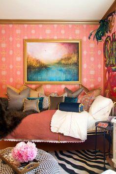 bohemian bedroom, interior, bedroom decor, pillow, idea, small bedrooms, colors, pink, bedroom designs