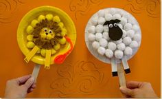 Lion and Lamb Paper Plate Puppets