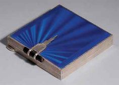 ART DECO SILVER AND ENAMEL COMPACT