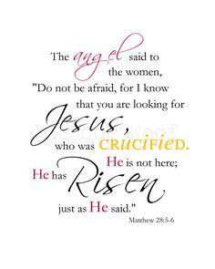 Easter Printable Digital Word Art He Has Risen Matthew by 1dogwoof