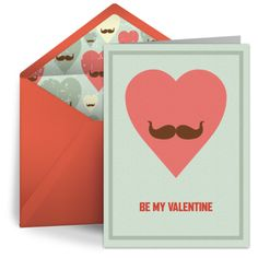 "Free, digital ""Mustache Valentine"" card by Punchbowl"