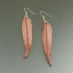 Copper Feather Earrings
