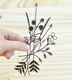 Wildflowers & Arrows Paper Cut Art tattoo ideas, paper cut outs, wildflower tattoo design, arrow paper, papercut