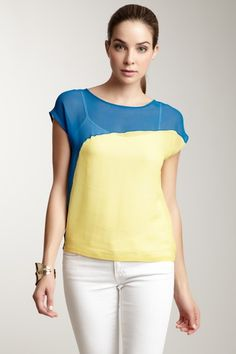 Silk Colorblock Top