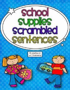 School Supplies Scrambled Sentences