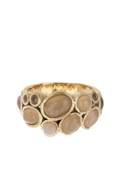 18k gold clad rose quartz bubble band ring