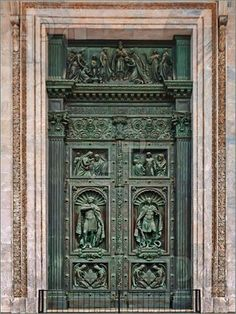 Ancient decorated door, St. Isaac's Cathedral, St. Petersburg
