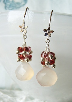 Pink chalcedony drop earrings with garnet and by oneoffcreations, $35.00