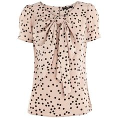 Spot Bow Front Top found on Polyvore from Debenhams