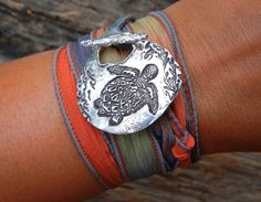 Sea Turtle Jewelry Silk Wrap Bracelet Sea Turtle by HappyGoLicky, $49.00
