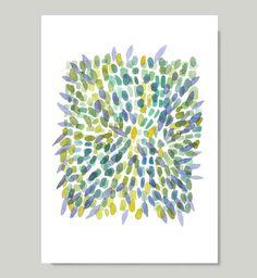 Explosion Spring print from original watercolor by LouiseArtStudio, $28.00 art paintings, watercolor paintings, pattern, green blue, explosions, blue yellow, origin watercolor, spring print, blues