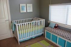 Yellow, Gray and Aqua Nursery - #projectnursery #chevron