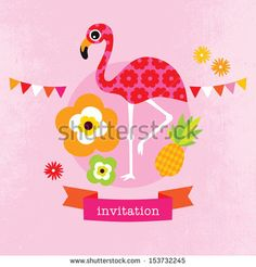 Adorable exotic flamingo flower blossom illustration little girl baby announcement card template in vector by Maaike Boot, via Shutterstock