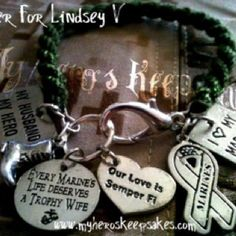 Marine Wife -Military Jewelry - OD Green *Boot Band Bracelet w/ Clasp* includes: My Husband My Hero,Combat Boot,Marine's Trophy Wife,Our Love is Semper Fi, Marines Support Ribbon,I Heart My Marine Charms...Retail $14.50 plus shipping...Item handmade by me :) ... www.myheroskeepsakes.com www.facebook.com/myheroskeepsakes