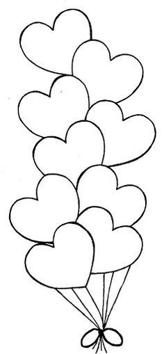 Heart Balloons easy coloring pages, desenhos para colorir, craft, heart balloon, digi, desenho para colorir, dibujo, balloons, valentin balloon