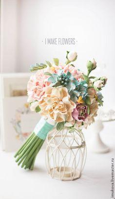 Clay handmade flowers by Daria Imukova. Свадебные цветы ручной работы. Ярмарка Мастеров - ручная работа Букет невесты, пионы, гортензии, ранункулюсы. Handmade.