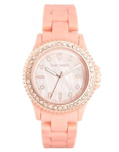 Diamante Trim Coral Watch