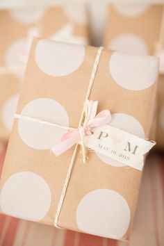 Polka dot packages tied up with string